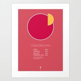 Cosmopolitan Cocktail Recipe Poster (Metric) Art Print