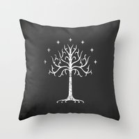 gondor Throw Pillows featuring White Tree of Gondor by Nxolab