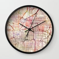 kansas city Wall Clocks featuring Kansas City by MapMapMaps.Watercolors
