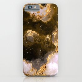 100 Starry Nebulas in Space Black and Gold 015 (Square) iPhone Case