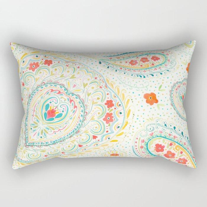 Watercolor Paisley Rectangular Pillow