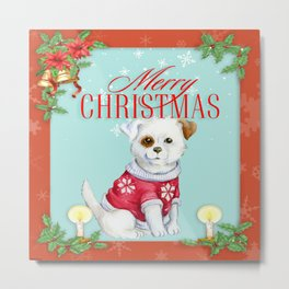 Merry Christmas Puppy Metal Print