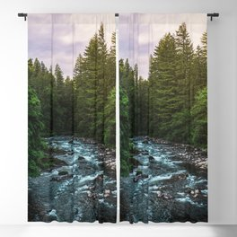 PNW River Run II - Pacific Northwest Nature Photography Blackout Curtain
