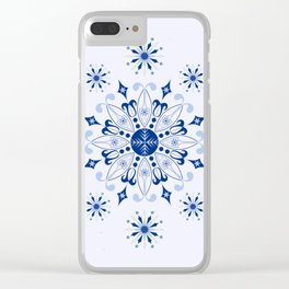 Decorative blue snowflakes and silver grey stars Clear iPhone Case