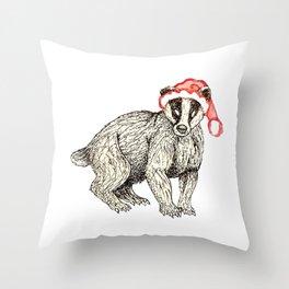 Christmas Honey Badger Throw Pillow