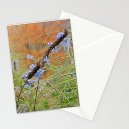 Autumn landscape with blue flowers Stationery Cards