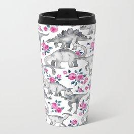 Dinosaurs and Roses - white Metal Travel Mug