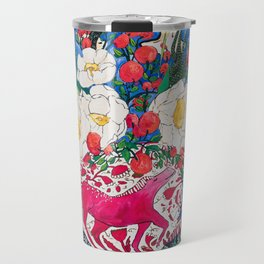 Horse Urn with Tiny Apples and Matilija Queen of California Poppies Floral Still Life Travel Mug