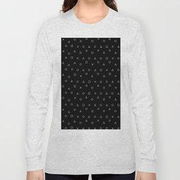 black gaming pattern - gamer design - playstation controller symbols Long Sleeve T-shirt