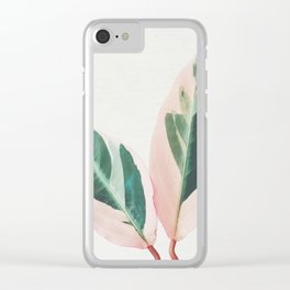 Pink Leaves I Clear iPhone Case