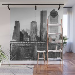City Skyline Downtown Houston in Black and White 1x1 Wall Mural