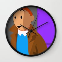 tintin Wall Clocks featuring Tintin, the young reporter by DocPastor