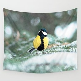 Blue Tit On Spruce Tree Wall Tapestry