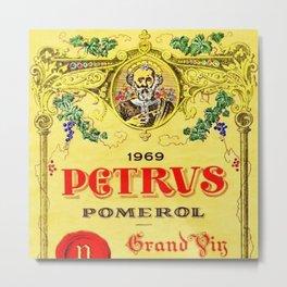 1969 Petrvs Pomerol Edmond Loubat Wine Bottle Label Print Metal Print