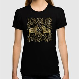 Swedish Dala Horses – Gold Palette T-shirt