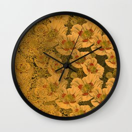 Poppies Deluxe:  Art Nouveau poppy print - cream, red, green, jade, peach, gold damask - ornate Wall Clock