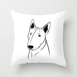 Bull Terrier (Black and White) Throw Pillow