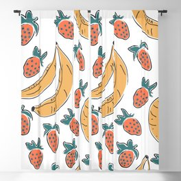 Seamless Pattern with Hand Drawn Cute Banana and Strawberry Blackout Curtain