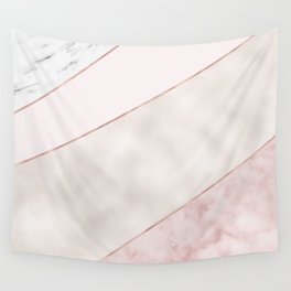 Spliced mixed pink marble and rose gold Wall Tapestry