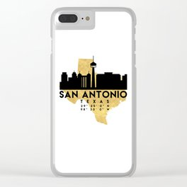 SAN ANTONIO TEXAS SILHOUETTE SKYLINE MAP ART Clear iPhone Case