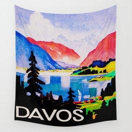 Davos Switzerland - Vintage Travel Wall Tapestry