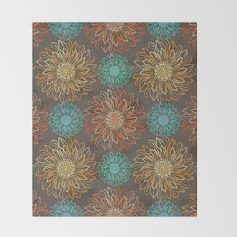 Autumn Sunflowers Throw Blanket