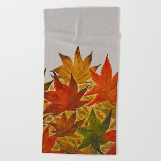 Autumn abstract watercolor 03 Beach Towel
