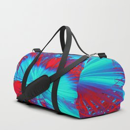 closeup palm leaf texture abstract background in blue and red Duffle Bag