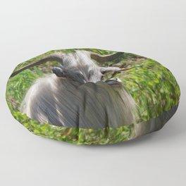Portrait of A Horned Goat Grazing Floor Pillow
