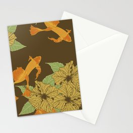 Brown Floral Koi Pattern Stationery Cards
