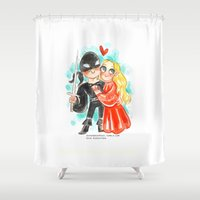 princess bride Shower Curtains featuring Princess Bride Hug by Super Group Hugs