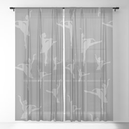 Grey Ballerinas Sheer Curtain