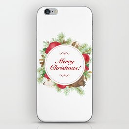 Wreath with christmas decoration iPhone Skin