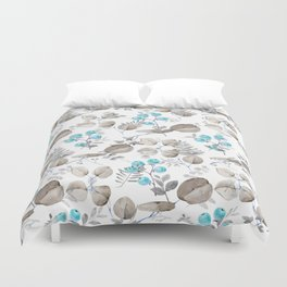 Hand painted teal brown watercolor berries fruit floral Duvet Cover