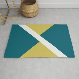 Off White, Dark Yellow and Tropical Dark Teal Inspired by Sherwin Williams 2020 Trending Color Oceanside SW6496 Minimal Solid Color Offset Geometric Shape Design 3 Rug