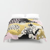 coachella Duvet Covers featuring Simone - abstract painting gold foil trendy hipster pastel pink modern trendy colors decor college by CharlotteWinter