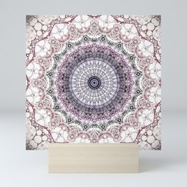 Bohemian White Detailed Mandala Design Mini Art Print