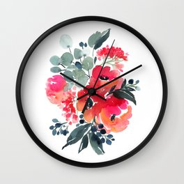 47. Flower Painting, Watercolor Flowers, Flower Art, Watercolor Flower Painting, Floral, Home Office Wall Clock