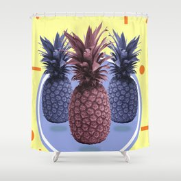 Pineapple Print - Tropical Decor - Botanical Print - Pineapple Wall Art - Yellow, Blue - Minimal Shower Curtain
