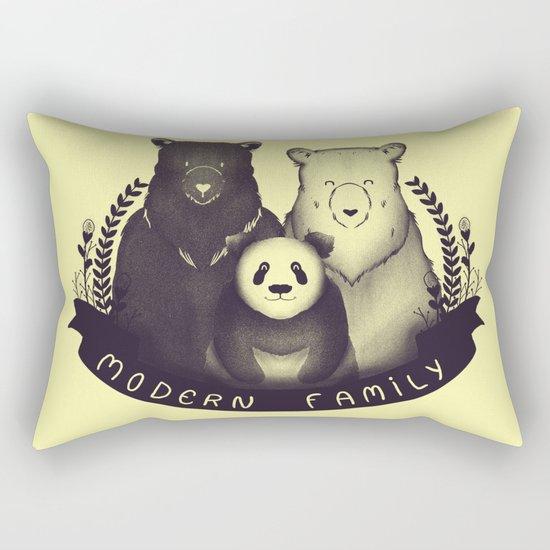 Modern Bear Family (Yellow) Rectangular Pillow