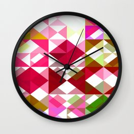 Crape Myrtle Abstract Triangles 1 Wall Clock