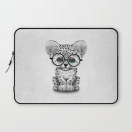 Cute Snow Leopard Cub Wearing Glasses Laptop Sleeve