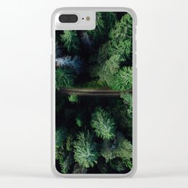 Aerial Forest Green Trees Clear iPhone Case