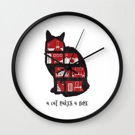 A cat makes a home Wall Clock