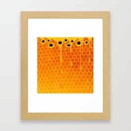 SUNFLOWERS GOLDEN HONEYCOMB WAX ART Framed Art Print