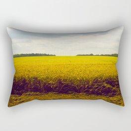 Prairie Landscape Bright Yellow Wheat Field Rectangular Pillow
