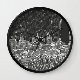 philadelphia city skyline black and white Wall Clock