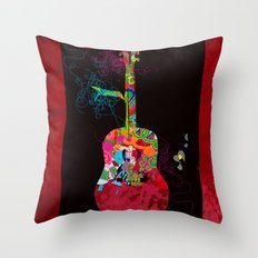 graphic guitar Throw Pillow
