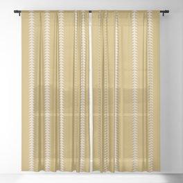 Minimal Triangles - Ochre Yellow Sheer Curtain