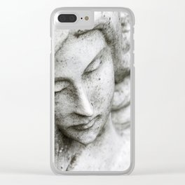 Angel face on stone memorial eyes closed Clear iPhone Case